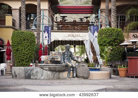 PALM SPRINGS, CA - JAN 17: The heart of downtown Palm Springs, CA has a statue of Sonny Bono who was mayor of this city from 1988-1992.