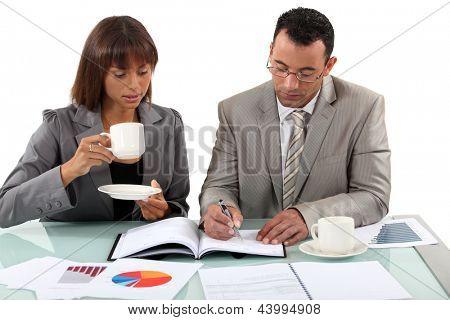 Workers having coffee