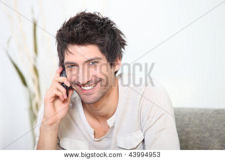 Black man on the phone