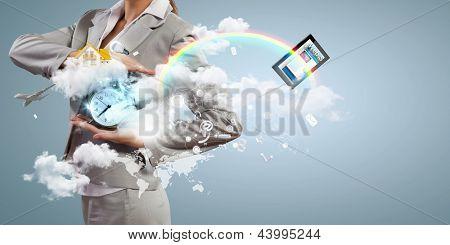 Image of businesswoman holding alarmclock against illustration background. Collage