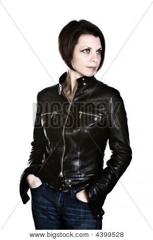Attractive Dark Haired Girl In Leather Jacket