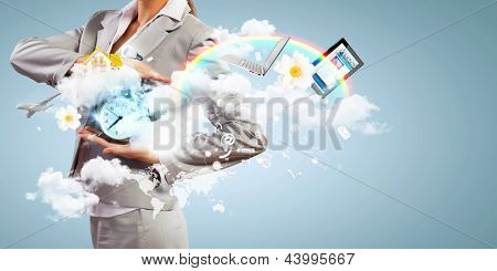 Image of businesswoman holding alarmclock against illustration background. Collage