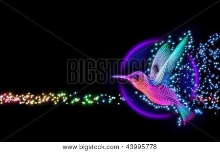 3d render of colibri bird - hummingbird with stars