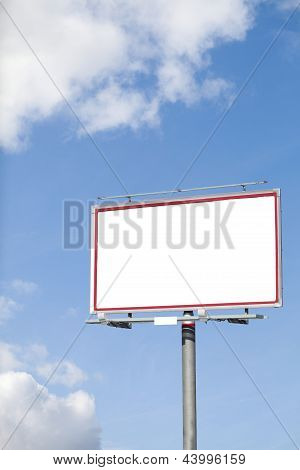 Blank White Billboard On Blue Sky For Your Advertisement