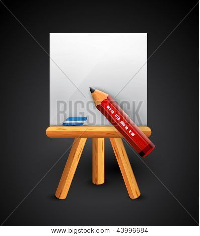 Pencil drawing conceptual vector icon. Pencil, empty paper sheet, wooden easel, eraser