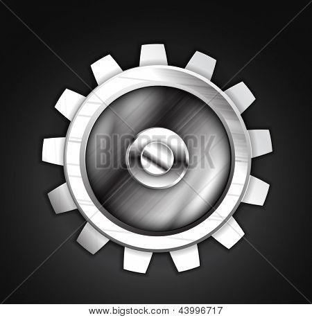 Icon - metallic gear design. Setting, setup, controls concept