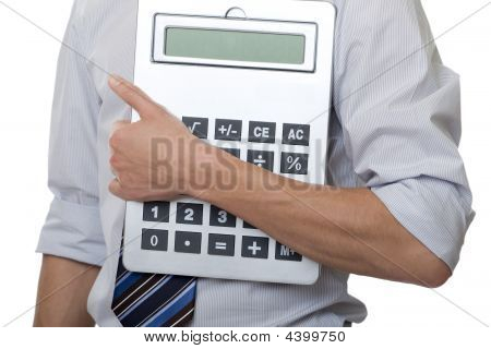 Businessman With Gigantic Pocket Calculator