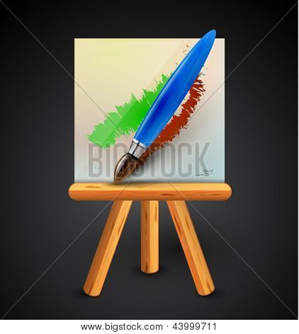 Brush drawing conceptual vector icon. Brush, colorful painting, wooden easel
