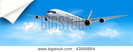Travel background with airplane and white clouds. Raster version of vector