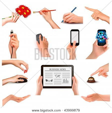 Set of hands holding different business objects. Raster version of vector