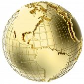 Earth in solid gold isolated on white (3d mesh map derived from NASA source map - http://visibleeart