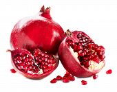 Pomegranate. Pomegranates isolated on a White Background. Organic Bio fruits