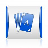 playing cards blue square web glossy icon