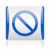 access denied blue square web glossy icon