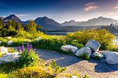 stock photo of wonderful  - Mountain lake in National Park High Tatra - JPG