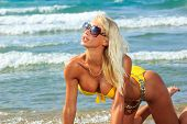 pic of bimbo  - Beautiful young blonde fit woman in bikini on the beach - JPG