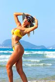 picture of bimbo  - Beautiful young blonde fit woman in bikini on the beach - JPG