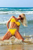 image of bimbo  - Beautiful young blonde fit woman in bikini on the beach - JPG