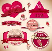 stock photo of gelato  - Set of vintage ice cream shop badges and labels - JPG