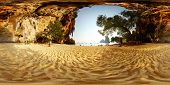 stock photo of spherical  - Spherical 360 degrees panorama of a sandy beach among limestone mountains - JPG