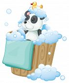 Illustration of a  panda toy and a rubber duck inside a pail on a white background