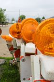 stock photo of flashers  - Traffic lights and barricade with flashers - JPG