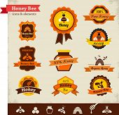 foto of bee-hive  - Honey bee vector label set - JPG