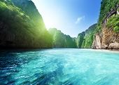 foto of cliffs  - bay at Phi phi island in Thailand - JPG