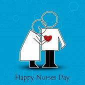 stock photo of nightingale  - International nurse day concept with illustration of a nurse checking patient - JPG
