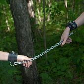 picture of sado-masochism  - Women Hands Chained on Forest Green Background - JPG