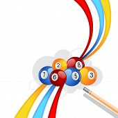 foto of snooker  - vector illustration of colorful snooker ball with stick - JPG