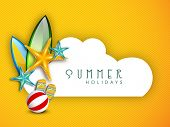 image of starfish  - Summer Holidays background with shiny starfish - JPG