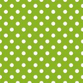 image of country girl  - Seamless vector spring pattern with white polka dots on fresh grass green background - JPG