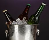 Beer bottles in ice bucket on darck purple background