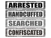 stock photo of handcuffed  - Set of grunge rubber stamps with words arrested handcuffed searched confiscated inside vector illustration - JPG