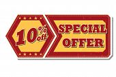 10 Percentages Off Special Offer - Retro Label