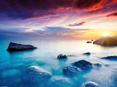 image of crimea  - Majestic summer sunset over the sea - JPG