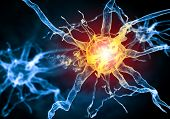 image of nerve cell  - Illustration of a nerve cell on a colored background with light effects - JPG