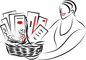 stock photo of gift basket  - woman giving or receiving a gift basket - JPG