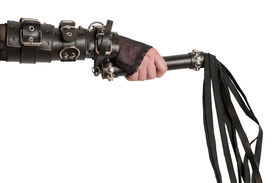 picture of scourge  - Hand in Leather Cuffs with Lash Isolated - JPG