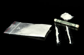 stock photo of methadone  - Cocaine drugs heap and lines with rolled banknote - JPG