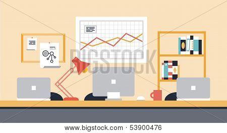 Ilustración de oficina de área de trabajo de colaboración