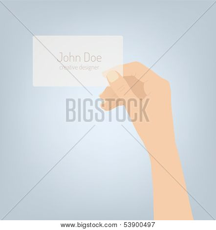 Hand Holding Personal Business Card Illustration