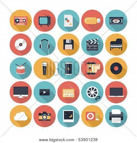 Conjunto de iconos plano multimedia