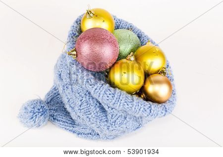 Christmas Balls In Blue Knitted Hat