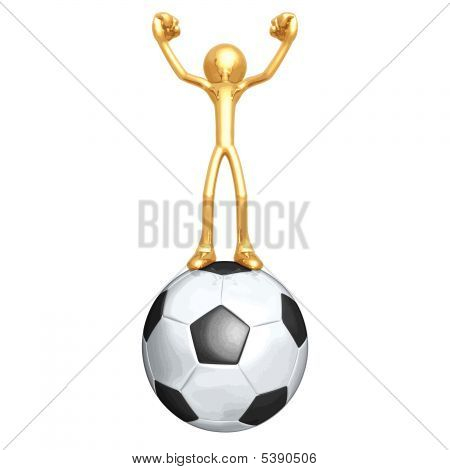 3D Vector Gold Guy Soccer Football
