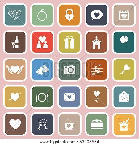 Wedding Flat Icons On Pink Background