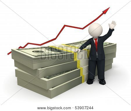 3D Succesful Business Man - Pack Of Money - Graph Arrow