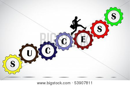 Businessman Making Progress Climbing Colorful Gears With Success Text vector illustration art