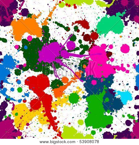 Seamless colorful ink color splats pattern